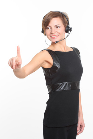 recourses: woman in front of visual touch screen. Stock Photo