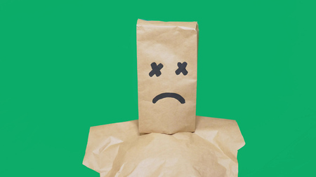concept of emotion, gestures. a man with a package on his head, with a painted smiley, exhausted, tired.