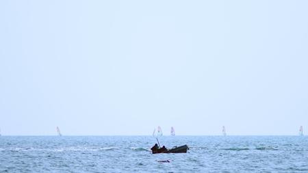 Sailing Boats on the horizon. seascape, sea sports Stock Photo