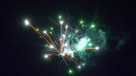 close up multicolored flare fireworks in the night black sky