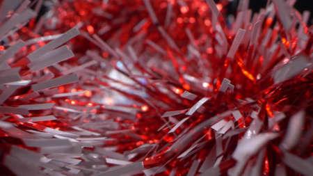 extreme close-up, detailed, bright shiny metallic tinsel. christmas background Фото со стока
