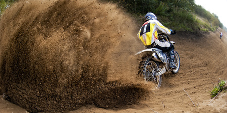 dirt: Rider driving in the motocross race