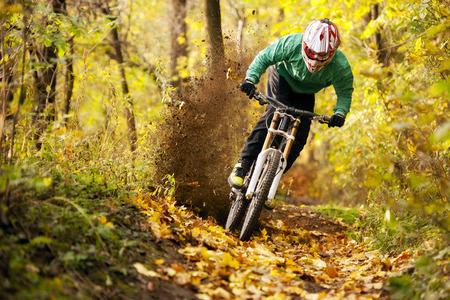 road bike: Mountainbiker rides in autumn forest