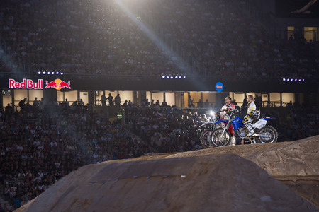 POZNAN, POLAND - AUGUST 6: A professional riders at the FMX Freestyle Motocross competition at Red Bull X-Fighters, 2011.