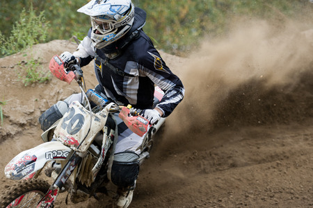 CZERWIONKA, POLAND - SEPTEMBER 2: Unidentified rider in action on Poland Top Amator Cup 2011. 新聞圖片