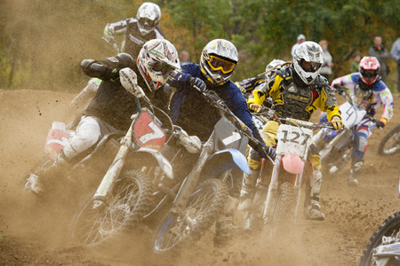 september 2: CZERWIONKA, POLAND - SEPTEMBER 2: Unidentified riders in action on Poland Top Amator Cup 2011.