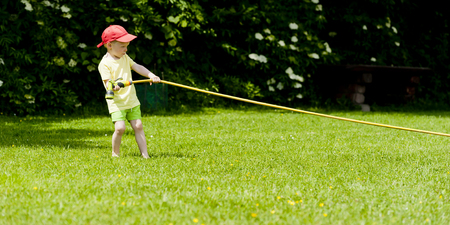 stubbornness: Child drags hose with water