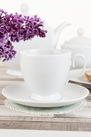 composition: Composition of white porcelain cup Stock Photo