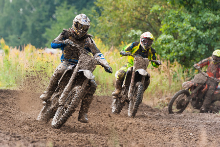 Motocross riders in the race