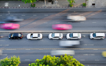 fast car: the traffic on the road in bangkok
