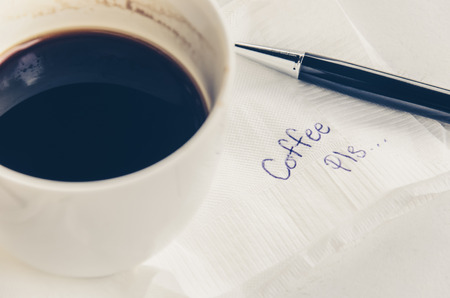 working week: A cup of Coffee and pen with word