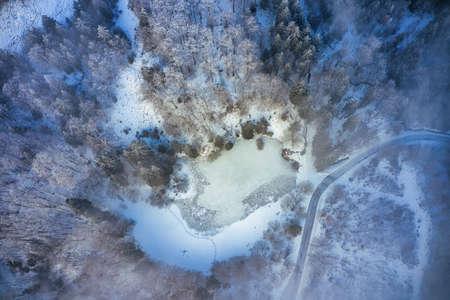 Frosty winter morning on the Hoher Meissner Foto de archivo