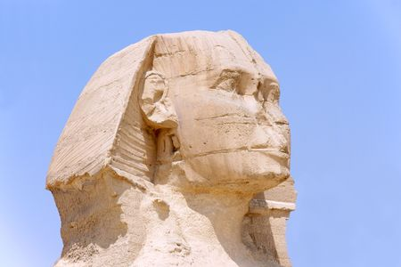 Head of Great Sphinx Giza in 2009 Stock Photo
