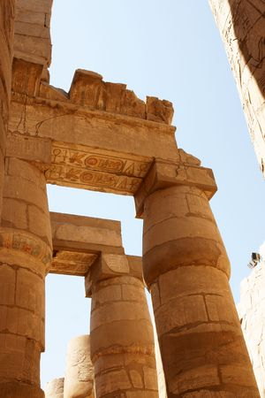 Ornament on columns of Karnak temple. Luxor. Egypt. Stock Photo