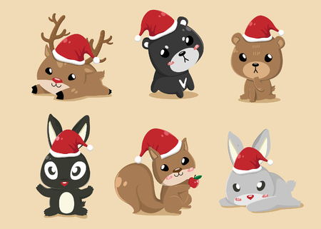 These cute animals put on Santa Claus's hat on Christmas Day. Illustration