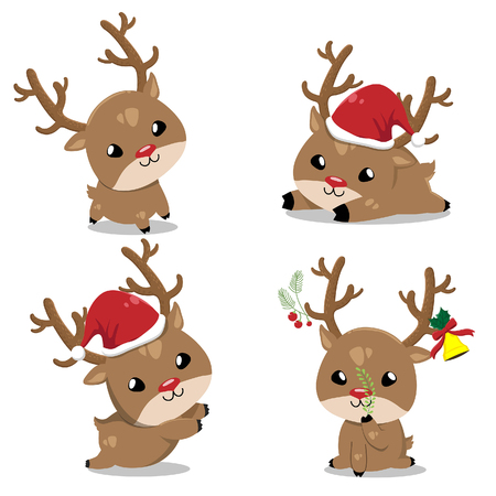 Little deer wearing a Santa Claus hat. Many emotions and portions.