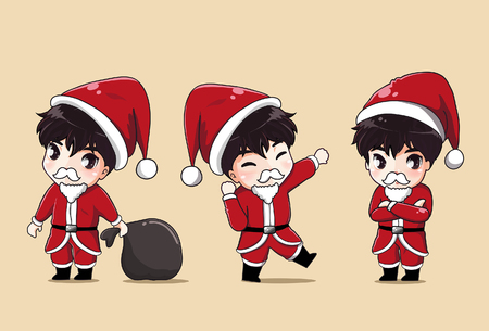 Set boy in Santa Claus costume Expressions and gestures a variety of emotions. Illustration