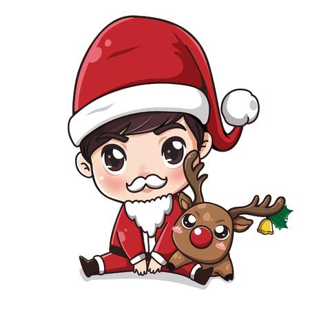 Niño lindo disfrazado de Santa Claus Siéntese con un pequeño ciervo. Ilustración de vector