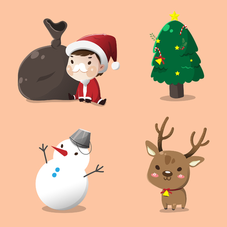 Set of cartoon characters for Christmas. Illustration