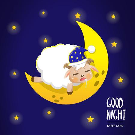 sheep sleep on the moon in the dark sky.