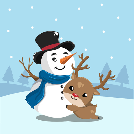 Snowman embraces a happy deer in the snow.