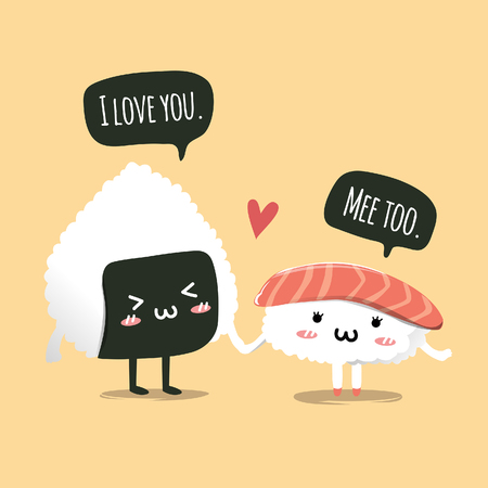 character sushi couple hold hand in love.
