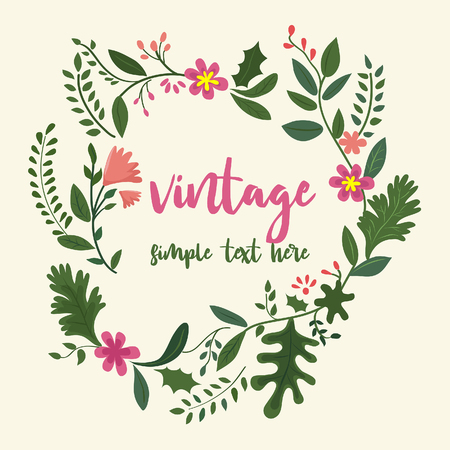 Typography vintage greetings Fine with beautiful flowers.
