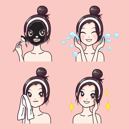 How to mask the correct face of a girl from mud treatment.
