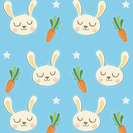 Little Rabbit Pattern with Cute Carrots.