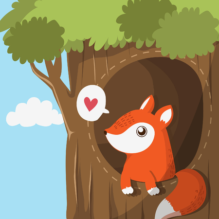 Fox in the hole of the tree