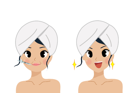 Face Care and Treatment by botox flat Vector Illustration. Standard-Bild - 123424484