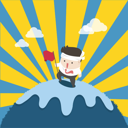 the businessman on top success and effort. To reach the goal is high like mountain. Ilustrace