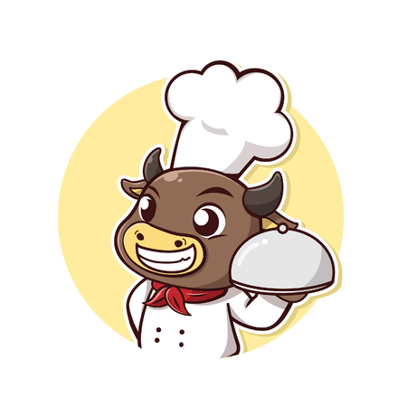 Character cow take a chef dress and steak holder.