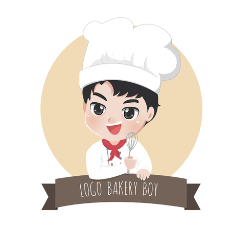 The little bakery boy chef's logo is happy,tasty and sweet smile.