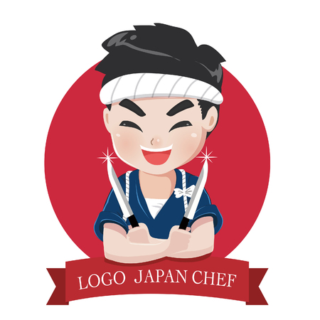 The little japan boy chefs logo is happy,tasty and confident smile.