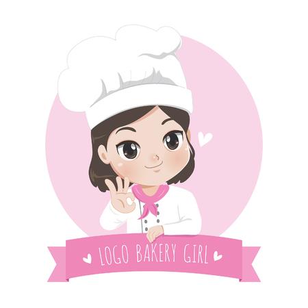 Het logo van de chef-kok van het kleine bakkerijmeisje is een vrolijke, smakelijke en lieve glimlach.