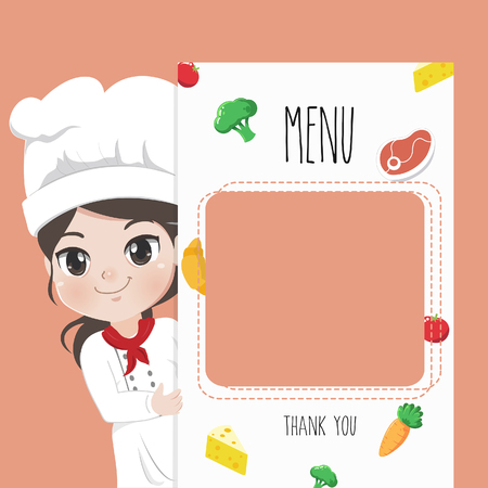 Female chef recommends food menu. She is happy to have customers enjoy delicious food.