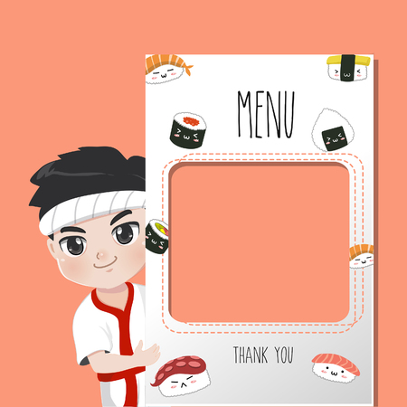 Japan chef recommends food menu.He is happy to have customers enjoy delicious sushi many style. Ilustrace