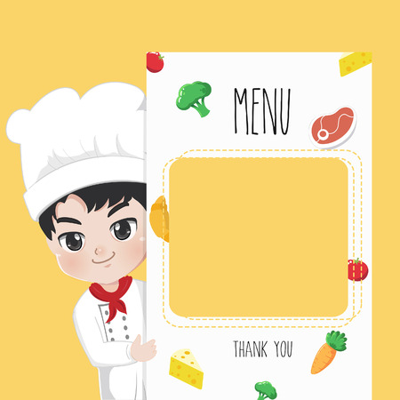 Chef recommends food menu. He is happy to have customers enjoy delicious food.