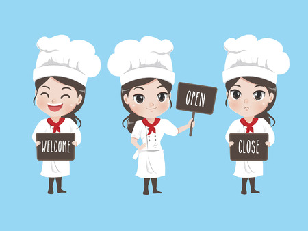 The female chef holds a signage at the front of the shop.There are welcome signage open sign and close signage.