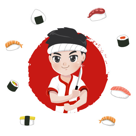 Japanese chef is going to show off sushi cooking skills by using a sharp knife. Illustration