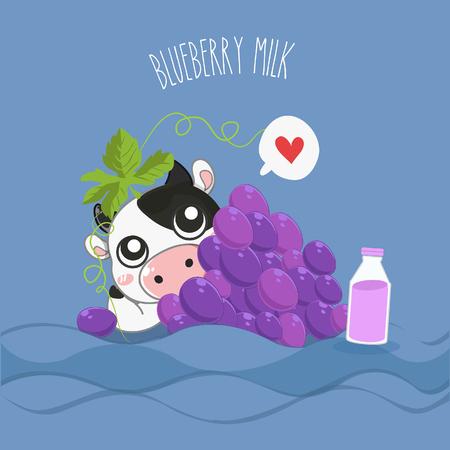 Mascot Dairy cow grape milk flavor.