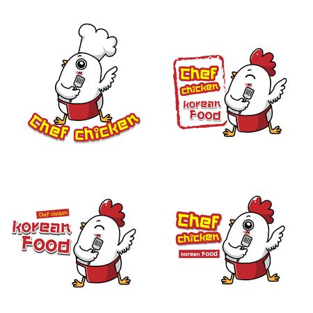 El logotipo de comida coreana es la mascota del pollo. Logos