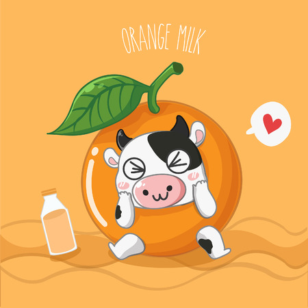 Mascot Dairy cow Orange milk flavor.