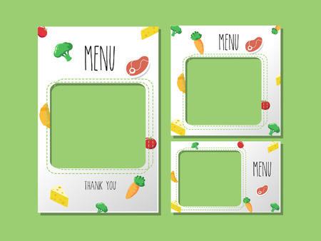 A menu template for food or banner graphics used for cute graphics and cute pattern Vegetables and meat.