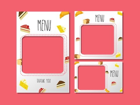 Menu template for food or banner graphics used for cute graphics and cute pattern dessert.