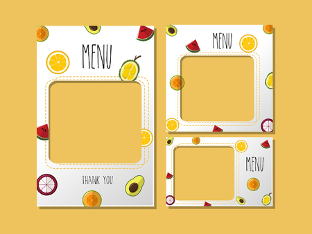Menu template for food or banner graphics used for cute graphics and cute pattern fruit. Illustration