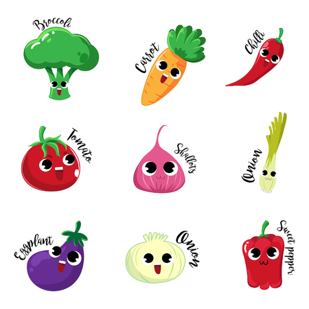 Set cartoon characters vegetable with happy mood and very so cute. Standard-Bild - 123527554