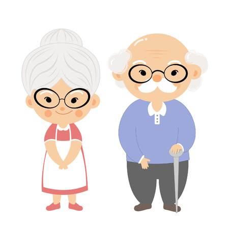 The cartoon grandmother and grandfather with smile face.
