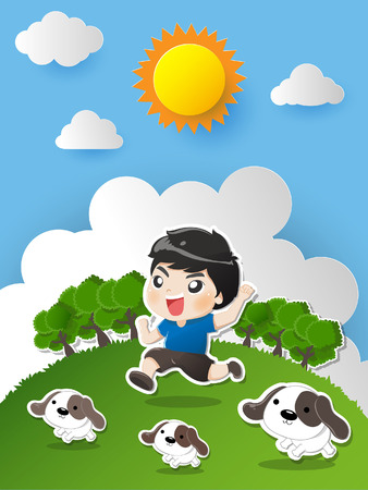 Kid running in the garden with dogs laugh bright and happy withe great day.